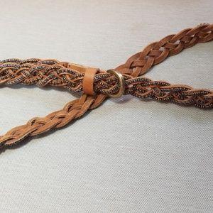 J. CREW Brown Braided Leather Belt w/ Beads